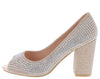 Beckie64 Champagne Rhinestone Peep Toe Block Pump Heel - Wholesale Fashion Shoes