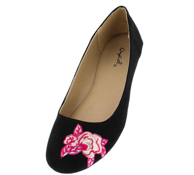 Bee32 Black Suede Pu Pink Embroidered Flower Flat - Wholesale Fashion Shoes
