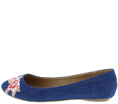 Bee32 Blue Denim Pink Embroidered Flower Round Toe Flat - Wholesale Fashion Shoes