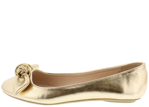 2a84d9cb714f Bee33 Gold Metallic Ring Knotted Bow Round Toe Flat
