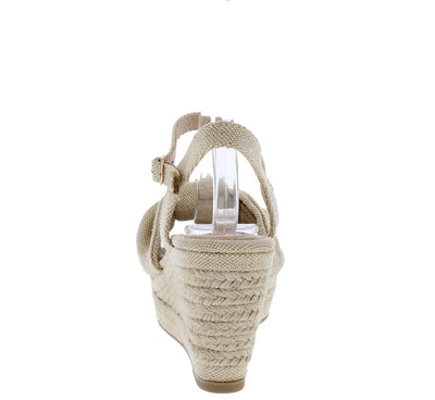Belle04 Natural Knotted Open Toe Slingback Espadrille Wedge - Wholesale Fashion Shoes