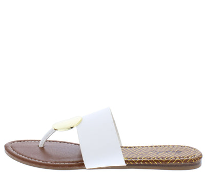 Bellini02 White Pu Gold Disk Thong Slide Sandal - Wholesale Fashion Shoes
