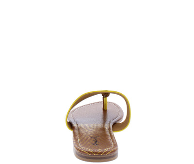 Bellini02 Yellow Pu Gold Disk Thong Slide Sandal - Wholesale Fashion Shoes
