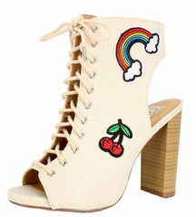 BELOVE BEIGE RAINBOW CHERRY LACE UP WOOD STACKED HEEL - Wholesale Fashion Shoes