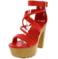BENJAMIN10 RED STRAPPY WOOD PLATFORM HEEL - Wholesale Fashion Shoes