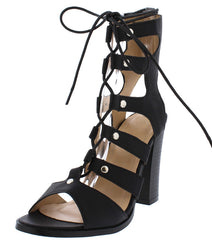 ALBINA439 BLACK PU LACE UP STRAPPY CHUNKY HEEL - Wholesale Fashion Shoes