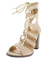 ALBINA439 NUDE PU LACE UP STRAPPY CHUNKY HEEL - Wholesale Fashion Shoes