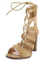 ALBINA439 TAN PU LACE UP STRAPPY CHUNKY HEEL - Wholesale Fashion Shoes