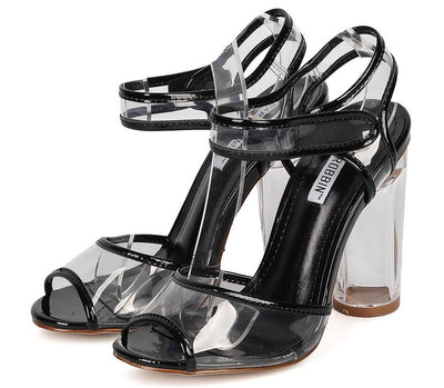 Benny13 Black Metallic Clear Velcro Lucite Heel - Wholesale Fashion Shoes
