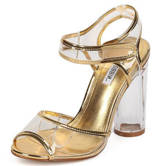BENNY13 GOLD METALLIC CLEAR VELCRO LUCITE HEEL - Wholesale Fashion Shoes