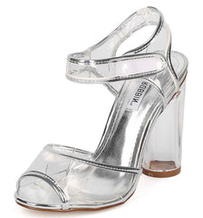 BENNY13 SILVER METALLIC CLEAR VELCRO LUCITE HEEL - Wholesale Fashion Shoes