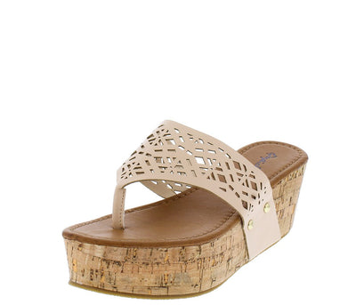 Benson01 Nude Laser Cut Thong Cork Wedge - Wholesale Fashion Shoes