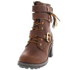 BENSON7 COGNAC PU COMBAT CHUNKY ANKLE BOOT - Wholesale Fashion Shoes
