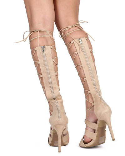 Berlin14 Natural Open Toe Ghillie Lace Up Knee High Boot - Wholesale Fashion Shoes
