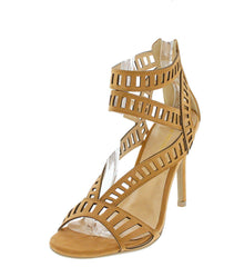BERTINA TAN NB PU LASER CUT OUT OPEN TOE HEEL - Wholesale Fashion Shoes
