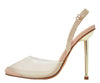 Bestie Nude Mesh Pointed Toe Slingback Gold Stiletto Heel - Wholesale Fashion Shoes