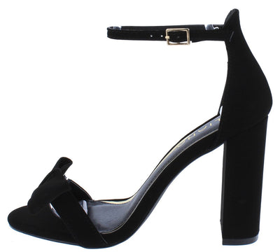 Elizabeth191 Black Pu Bow Open Toe Ankle Strap Block Heel - Wholesale Fashion Shoes
