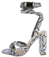 Stephanie035 Snake Open Toe Ankle Wrap Clip Block Heel - Wholesale Fashion Shoes