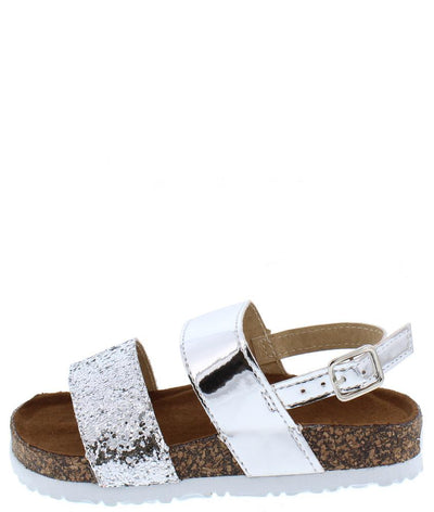 Bethany1k Metallic Silver Glitter Strap Slingback Infant Sandal - Wholesale Fashion Shoes