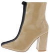 Betisa45 Nude Black Stripe Patent Ankle Boot - Wholesale Fashion Shoes