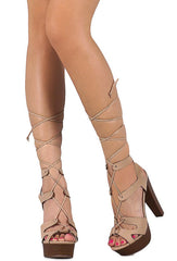 BETSEY42 BEIGE LACE UP ANKLE WRAPPING PLATFORM HEEL - Wholesale Fashion Shoes