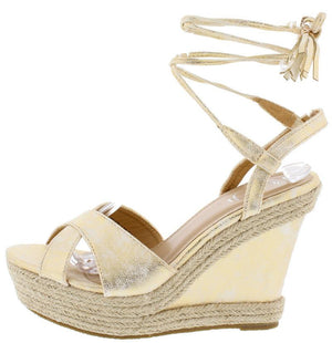 9ed6edbb4c95 Beverly01 Champagne Distressed Braided Hemp Ankle Wrap Platform Wedge -  Wholesale Fashion Shoes