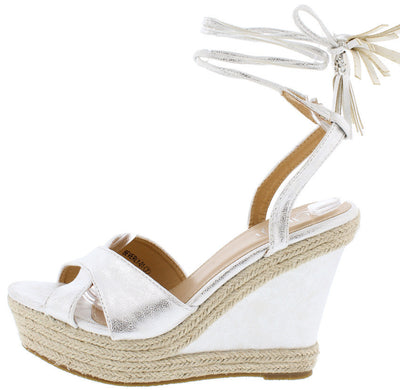Beverly01 Silver Distressed Braided Hemp Ankle Wrap Platform Wedge - Wholesale Fashion Shoes