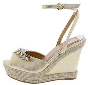bfd1cee270de Beverly02 Champagne Metallic Rhinestone Espadrille Wedge - Wholesale  Fashion Shoes