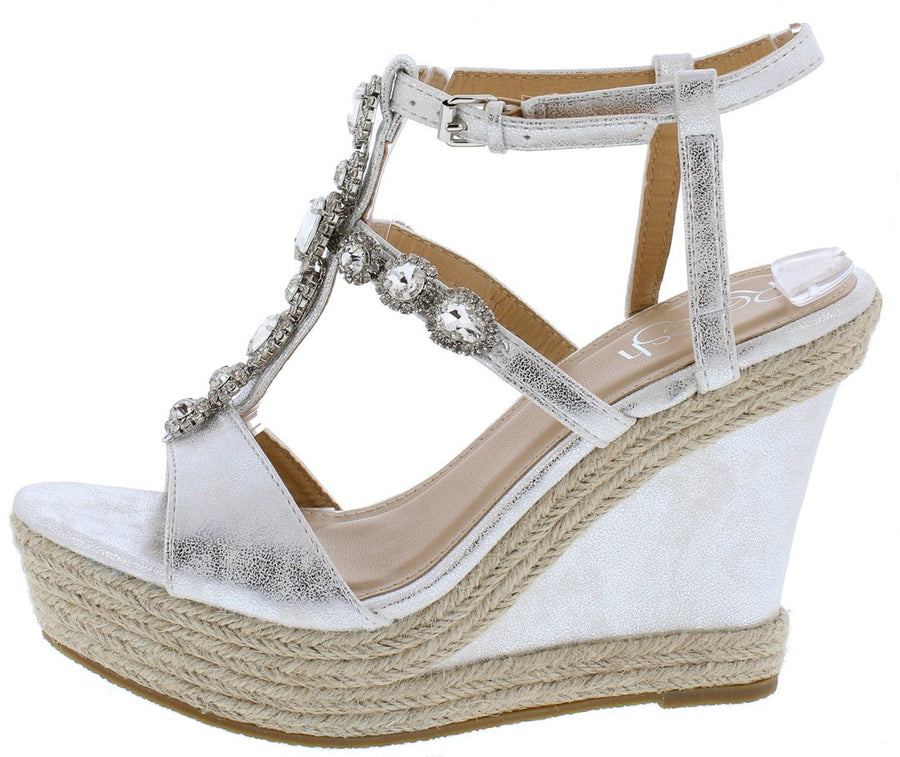 79aa74831f1 Beverly03 Silver Metallic Rhinestone Espadrille Wedge - Wholesale Fashion  Shoes