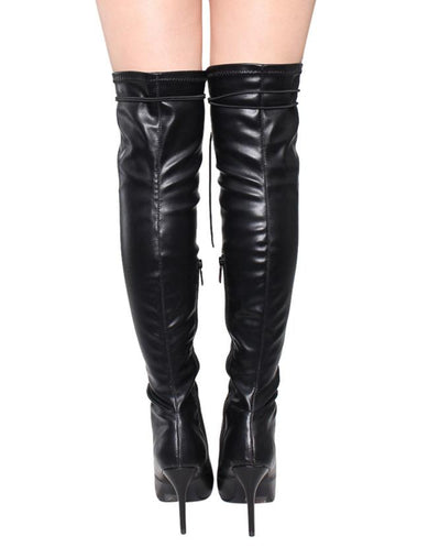 Beverly17 Black Thigh High Lace Up Pointed Toe Boot - Wholesale Fashion Shoes