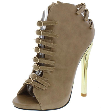 Bianca02 Beige Multi Buckle Strap Metallic Stiletto Boot - Wholesale Fashion Shoes