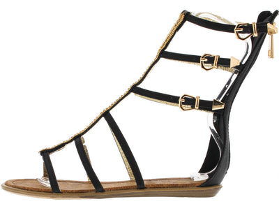 Cleo Black Gold 6 Strap Calf Hi Gladiator Sandal - Wholesale Fashion Shoes