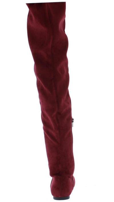 Bianca7 Burgundy Round Toe Drawstring Thigh High Boot - Wholesale Fashion Shoes