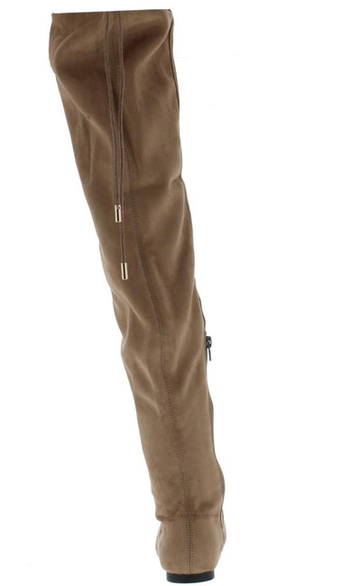Bianca7 Taupe Round Toe Drawstring Thigh High Boot - Wholesale Fashion Shoes