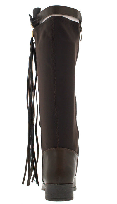 Biancabk1 Brown Fringe Tassel Riding Boot - Wholesale Fashion Shoes