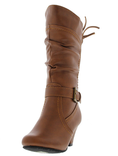 Bibi55k Tan Lace Up Low Heel Kid's Boot - Wholesale Fashion Shoes
