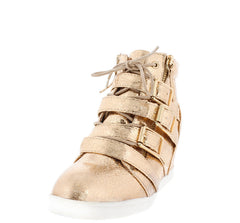 ADAM132 ROSE GOLD BUCKLE LACE UP ZIPPER HIDDEN WEDGE SNEAKER BOOT - Wholesale Fashion Shoes