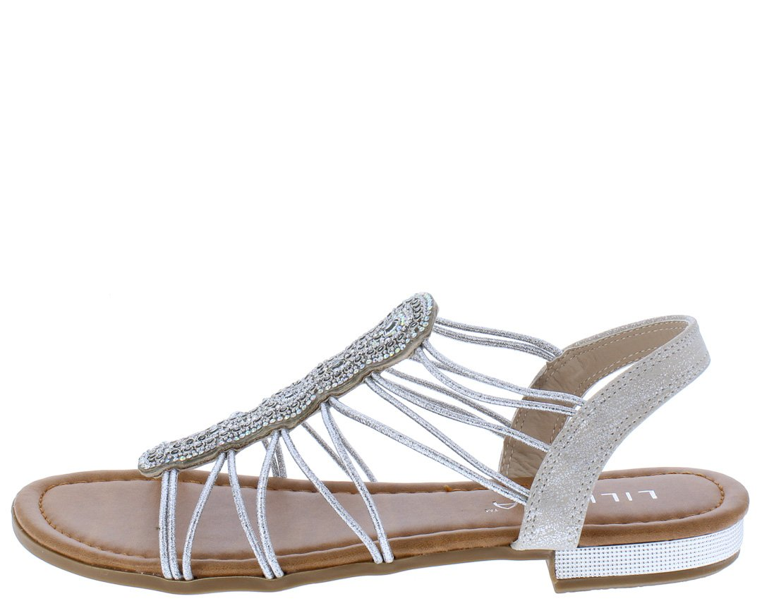 d25762f0e Charlotte258 Silver Sparkle Strappy Open Toe Slingback Sandal - Wholesale  Fashion Shoes