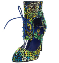 BIRI BLUE LEOPARD LACE UP POINTED HEEL - Wholesale Fashion Shoes