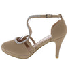 Biswa85 Taupe  Rhinestone Keyhole Low Platform Heel - Wholesale Fashion Shoes