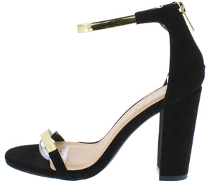 8c217a3bfe7 Greyson211 Black Gold Open Toe Ankle Strap Angled Heel - Wholesale Fashion  Shoes
