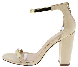 14920e12c42 Greyson211 Nude Gold Open Toe Ankle Strap Angled Heel - Wholesale Fashion  Shoes