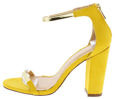 Greyson211 Yellow Gold Open Toe Ankle Strap Angled Heel - Wholesale Fashion Shoes