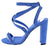 Bixby29x Blue Suede Pu Strappy Open Toe Block Heel