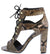 Bixby45x Light Brown Snake Pu Cut Out Lace Up Block Heel