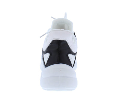 Blade01 Black White Lace Up Sneaker Flat - Wholesale Fashion Shoes