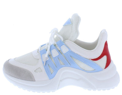 Blade01 Blue White Lace Up Sneaker Flat - Wholesale Fashion Shoes