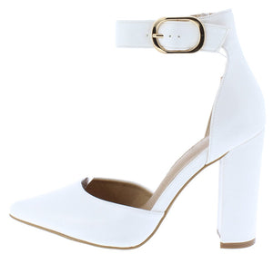 2a2dbe6435eb Blair White Pu Pointed Toe Ankle Strap Dorsay Heel - Wholesale Fashion Shoes