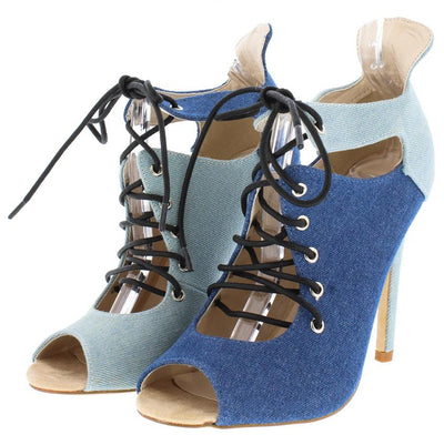 Blaire2 Denim Two Tone Opposite Lace Up Ankle Boot - Wholesale Fashion Shoes