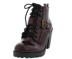 BLAKE BURGUNDY PATENT CHUNKY HEEL ANKLE BOOT - Wholesale Fashion Shoes